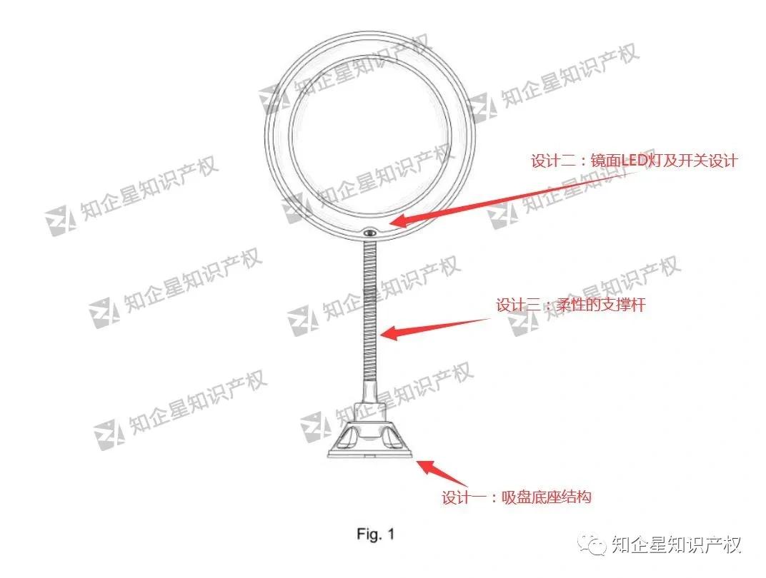 亚马逊热款- LED吸盘化妆镜-美国专利侵权警报