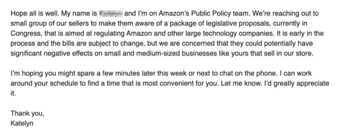 亚马逊警告卖家:美国新的反垄断法可能会影响你们的业务!